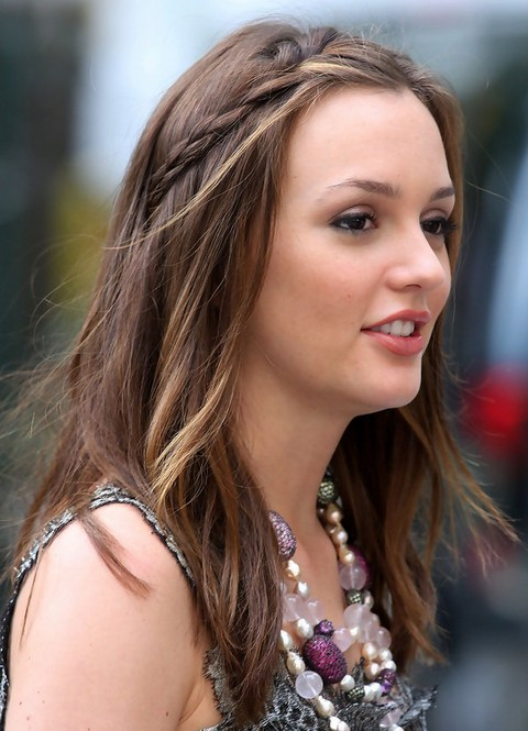 Leighton Meester Hairstyles: Partially Braided Hairstyle