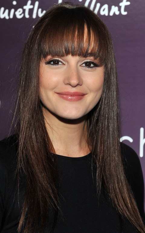 Leighton Meester Hairstyles: Straight Haircut with Bangs