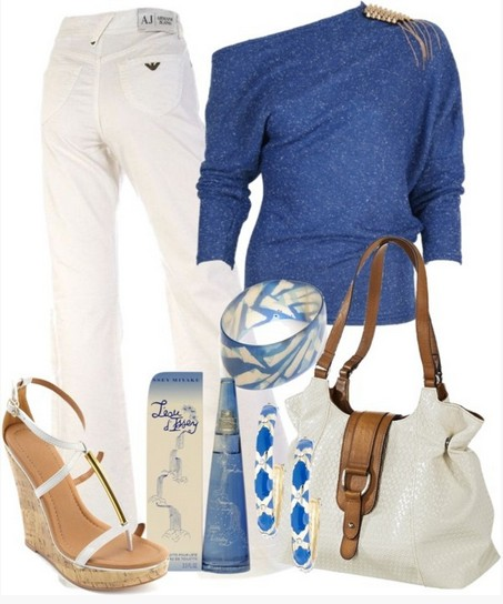 Long Sleeve Blue One-shoulder Top Jersey Outfit