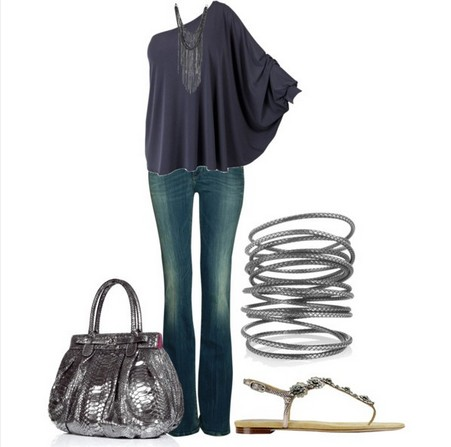 Long Sleeve Grey Tulle One-shoulder Top Outfit