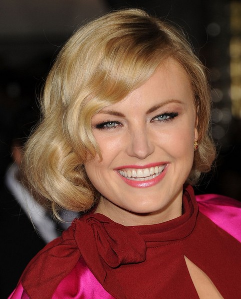 Malin Akerman Long Hairstyle: Pinned Updo with Featured Bangs