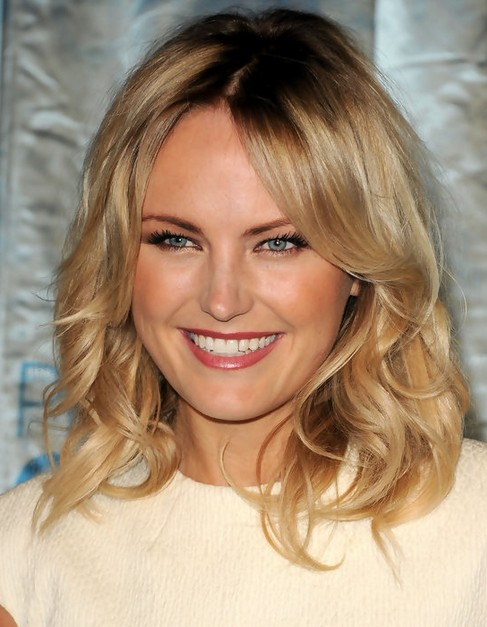 Malin Akerman Medium Hairstyle: Curls with Long Side Parting