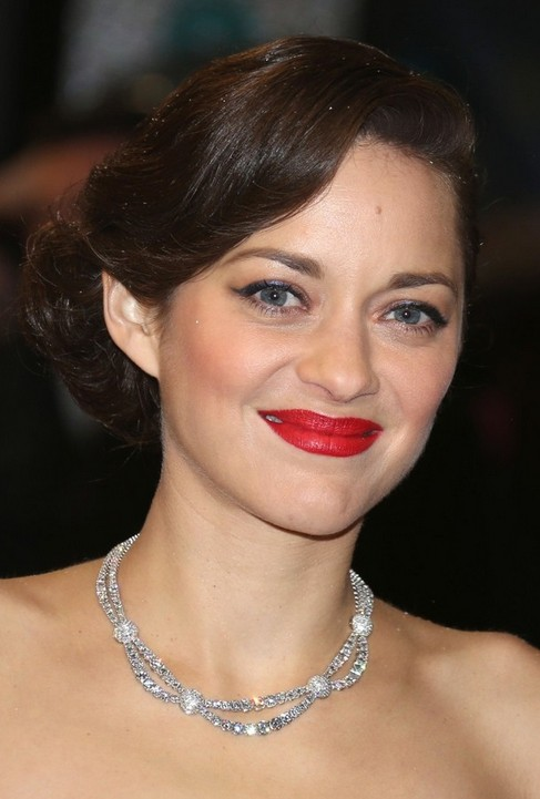 Marion Cotillard Long Hairstyle: Retro Updo with Deep Side Part
