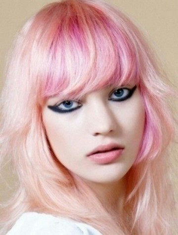 Medium Layerd Pink Hairstyle with Blunt Bangs for Girls