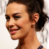 Megan Gale Long Hair style: 2014 Ponytail without bangs