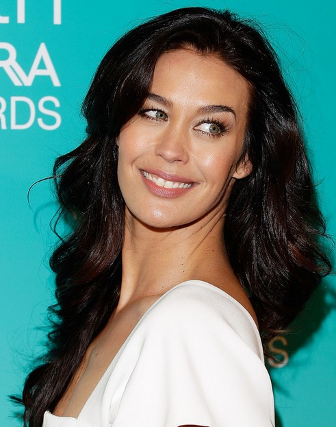 Megan Gale Long Hairstyle: Center Part