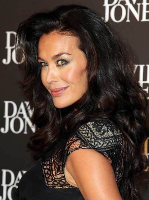 Megan Gale Long Hairstyle: Curls with Deep Side Part