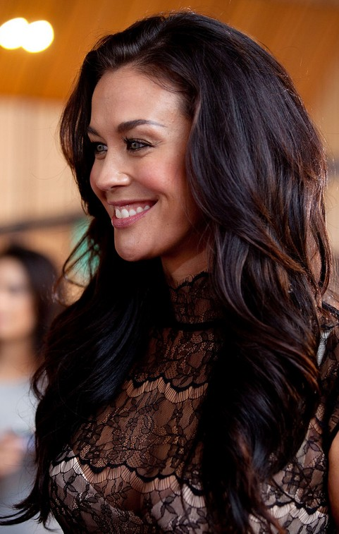 Megan Gale Long Hairstyle: Purple Hair