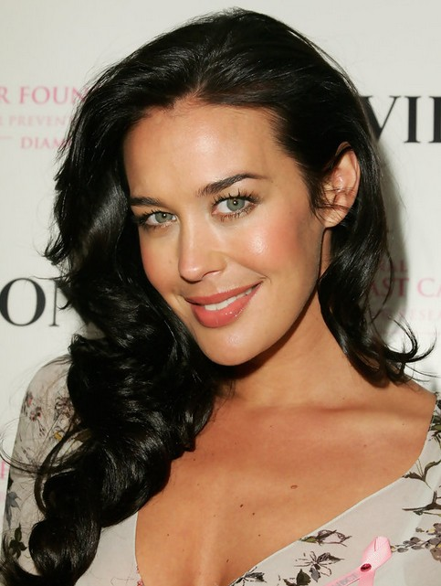 Megan Gale Long Hairstyle: Side Parted Curls
