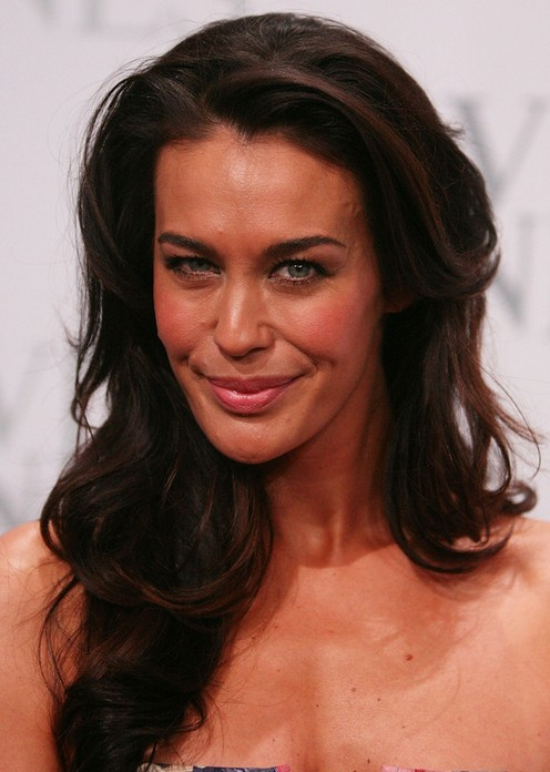 Megan Gale Long Hairstyle: Side Swept Curls