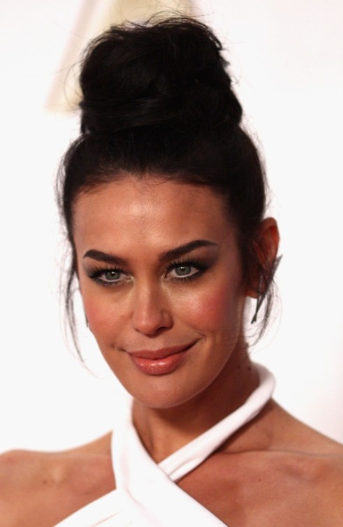Megan Gale Long Hairstyle: Top Knot