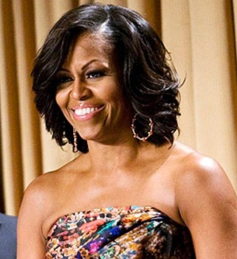 micro braid updo hairstyles : Michelle Obama Hairstyles: Feathered Flip Hairstyle