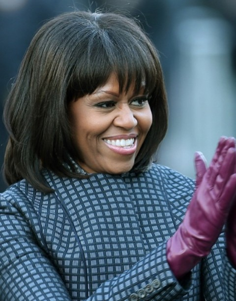 Michelle Obama Hairstyles: Layered Haircut with Bangs