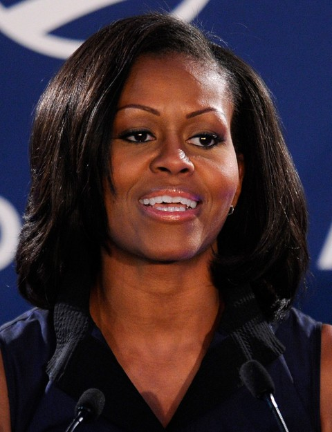Michelle Obama Hairstyles: Medium Straight Haircut