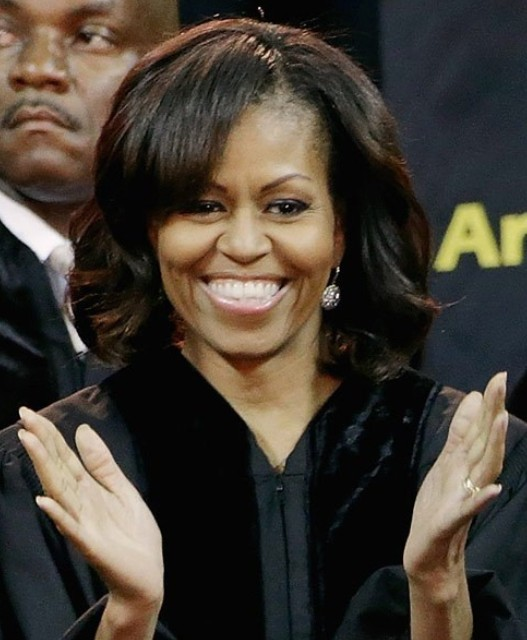 Michelle Obama Hairstyles: Side-parted Medium Curls