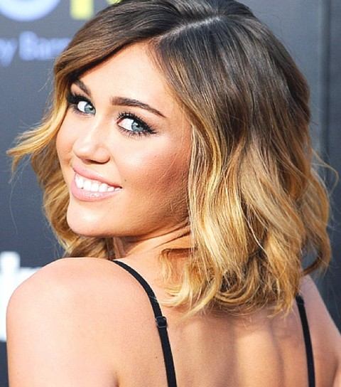 Miley Cyrus Hairstyles: Ombre Medium Waves