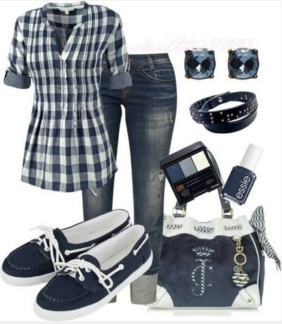 Navy Plaid Outfit, plaid shirt, jeans and sneakers
