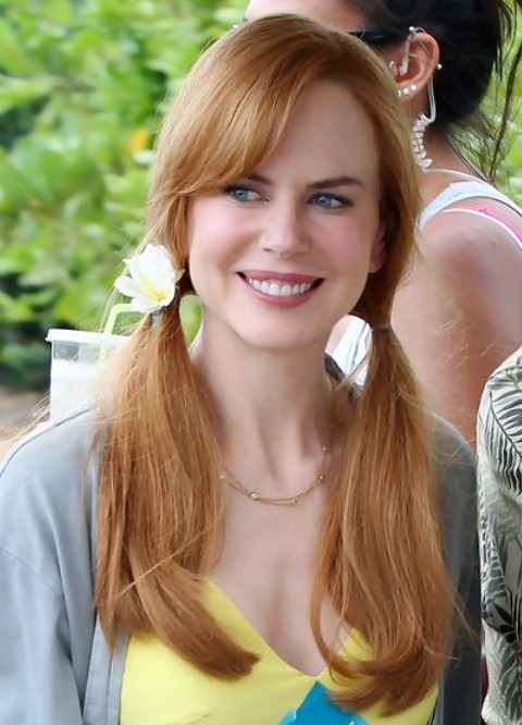Nicole Kidman Long Hairstyle Playful Pigtails Pretty
