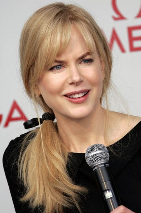 Awesome Nicole Kidman Long Hairstyle Ponytail With Side Swept Bangs Short Hairstyles For Black Women Fulllsitofus