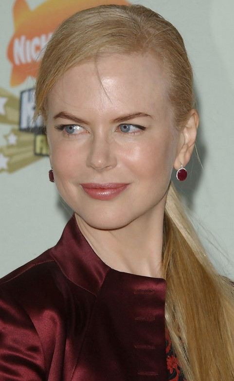 Nicole Kidman Long Hairstyle: Side Parted Ponytail