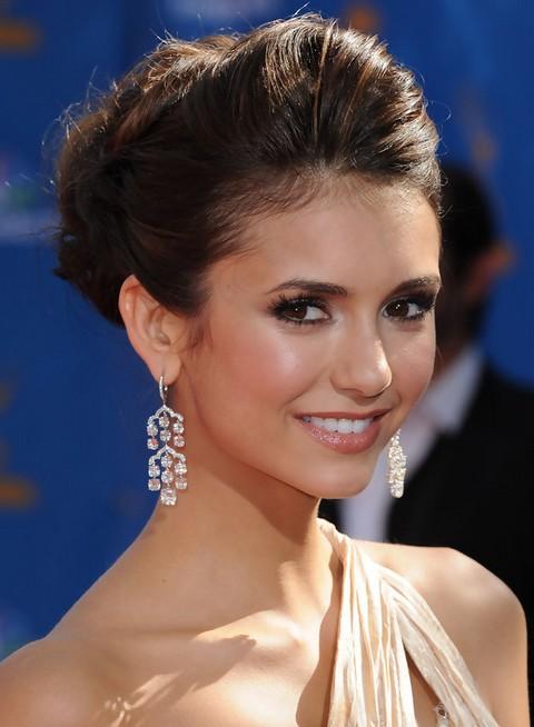 Nina Dobrev Hairstyles: Elegant Bobby Pinned Updo - Pretty Designs
