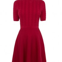 Oasis Cable Polo Turtle Neck Dress , Bright Pink