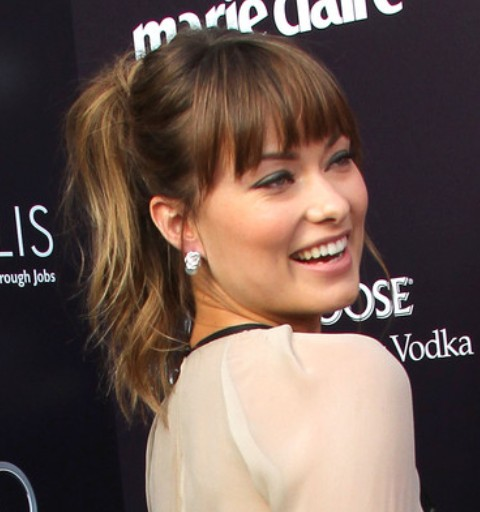 Olivia Wilde Hairstyles: Cheerful Ponytail with Bangs