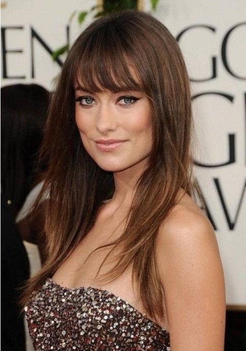 Olivia Wilde Hairstyles: Layered Straight Haircut with Bangs