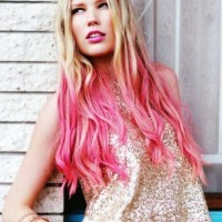 Pink Dip Died Hairstyle for Long Wavy Blond Hair