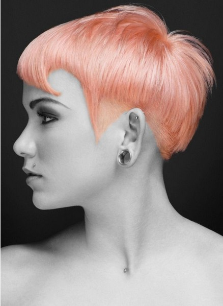 Pink Short Haircut Hairstyle with Bangs for Women
