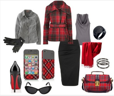 Plaid Outfit for Formal Occasion, Black Jacket, Black pencil dress and Black pumps