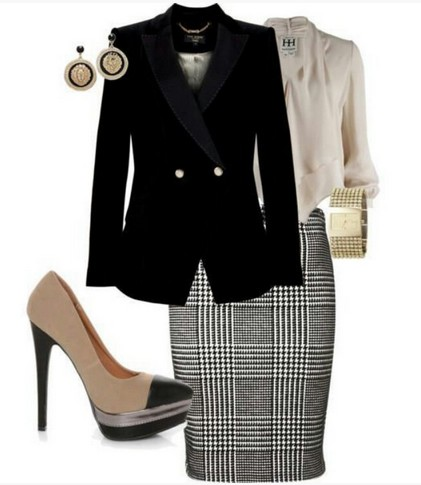 Plaid Outfit for Formal Occasion, Black suit, Plaid pencil dress and Nude pumps