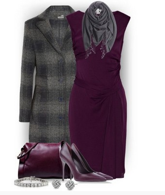 Plaid Outfit for Formal Occasions, Long Plaid Coat, a Solid Dress and Purple Pumps