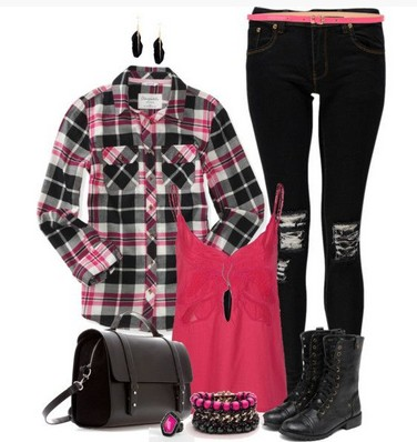 Plaid Outfit, plaid shirt, print skinnies and boots