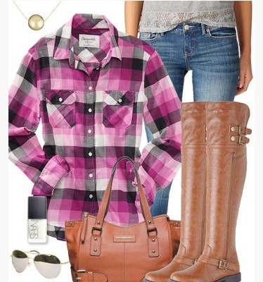 Purple Plaid Outfit, Purple Plaid Shirt, Jeans and Knee-length Boots