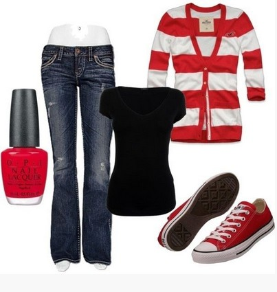 Casual Red Outfit, Red and White striped cardigan,jeans and sneakers