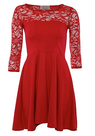 Red sequined skater dress,Evening and Party Dresses