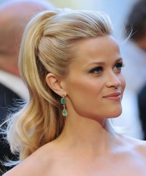 Reese Witherspoon Long Hairstyle: Half Up Half Down without Bangs