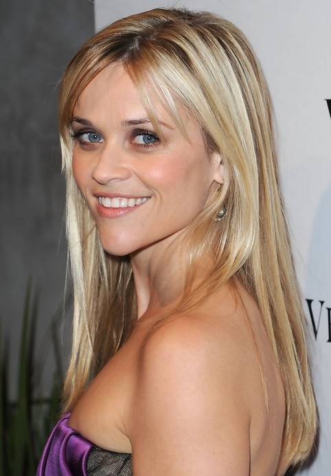 Reese Witherspoon Long Hairstyle: Straight Hair with Bangs