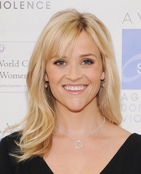 Reese Witherspoon Long Hairstyle: Subtle Waves with Bangs