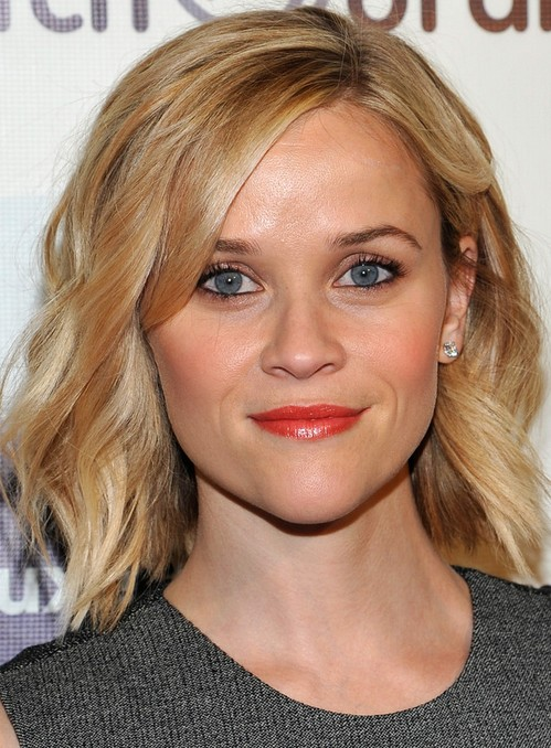 Reese Witherspoon Medium Length Hair style: 2014 Subtle Waves