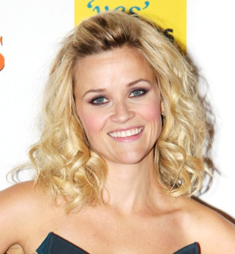 Reese Witherspoon Medium Length Hairstyle: Curls without Bangs