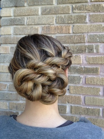 Rope Braid Updo Hairstyle for Long Ombre Hair