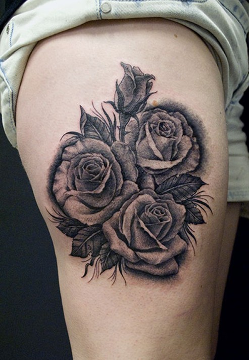Rose Tattoo: black and grey Thigh