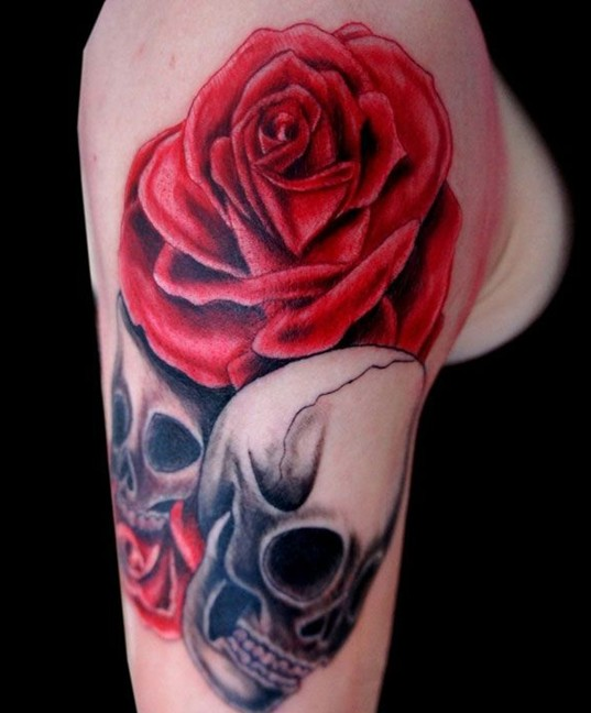 Rose and Skull Tattoos