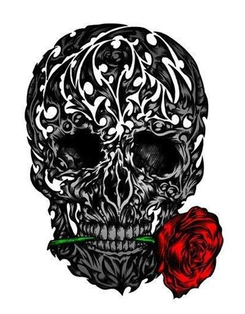 Rose and skull tattoos designs