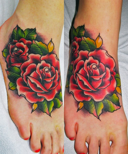 Rose tattoo on foot: Women tattoos