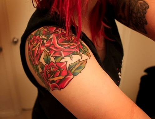 Roses Tattoo for Girl on Shoulder