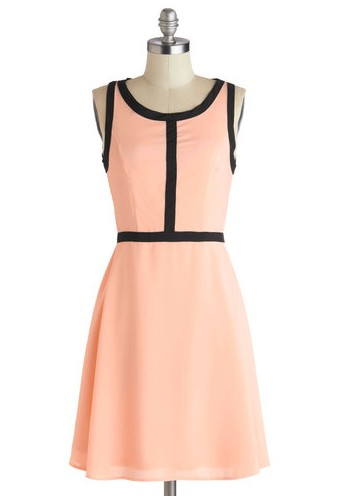 Rue and Me Dress, Pink and Black, Fit and Flare