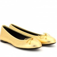 Saint Laurent DANCE METALLIC-LEATHER BALLERINAS Gold